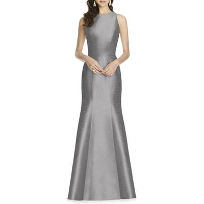 Plus Size Alfred Sung Dupioni Trumpet Gown, Grey