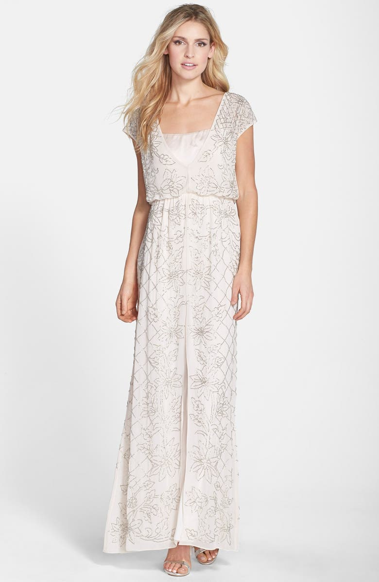 NEEDLE & THREAD 'Aura' Beaded Georgette Maxi Dress, Main, color, 680