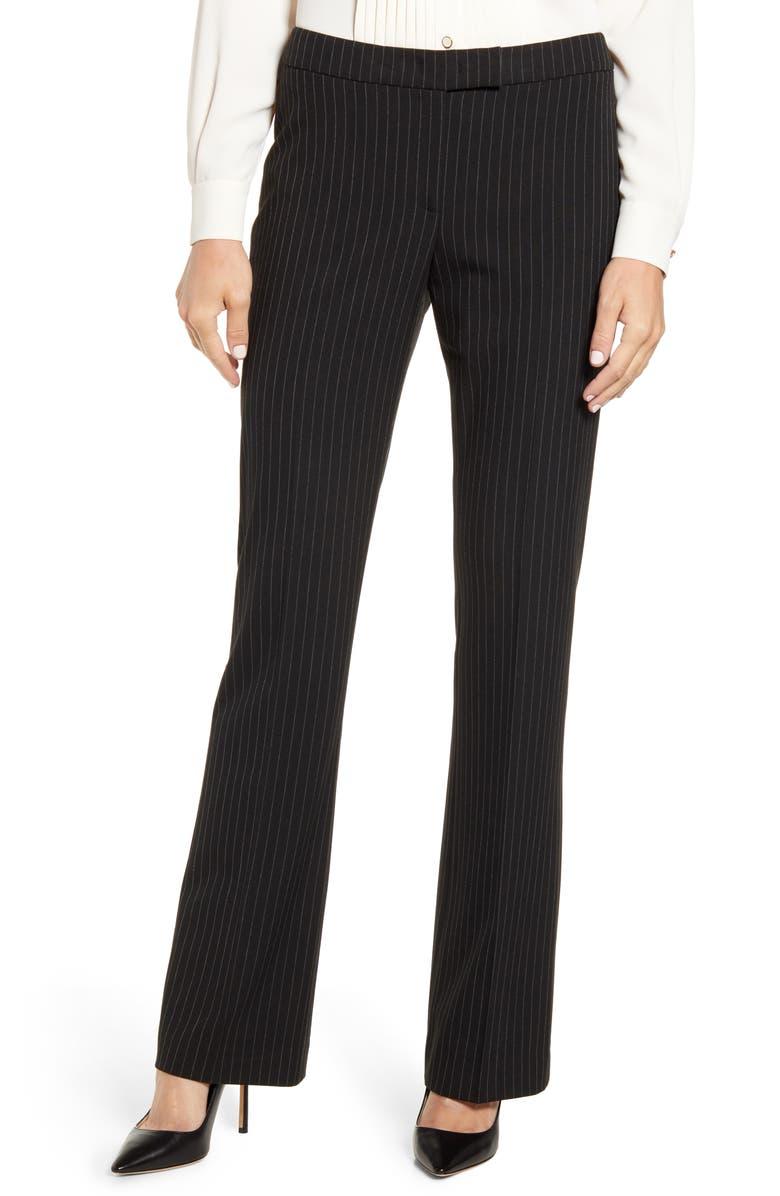ANNE KLEIN Pinstripe Flare Leg Trousers, Main, color, ANNE BLACK/ ANNE WHITE