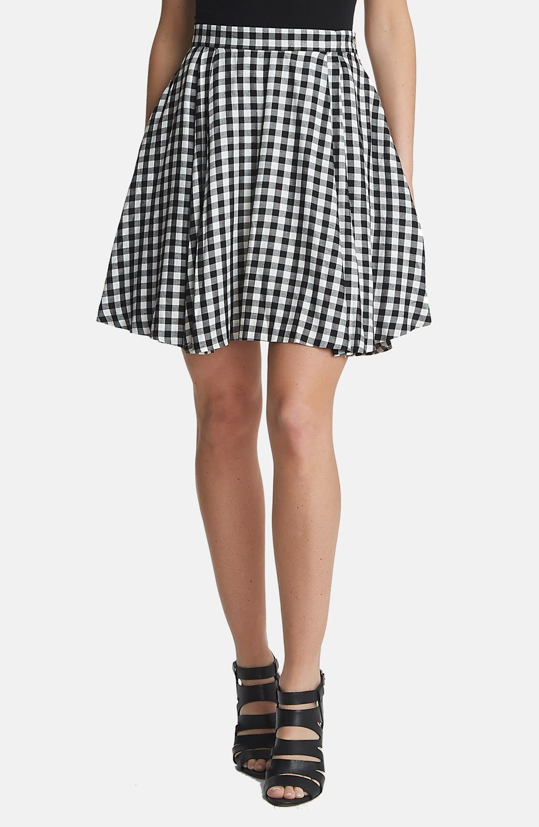 Gingham A-Line Skirt, Main, color, 010