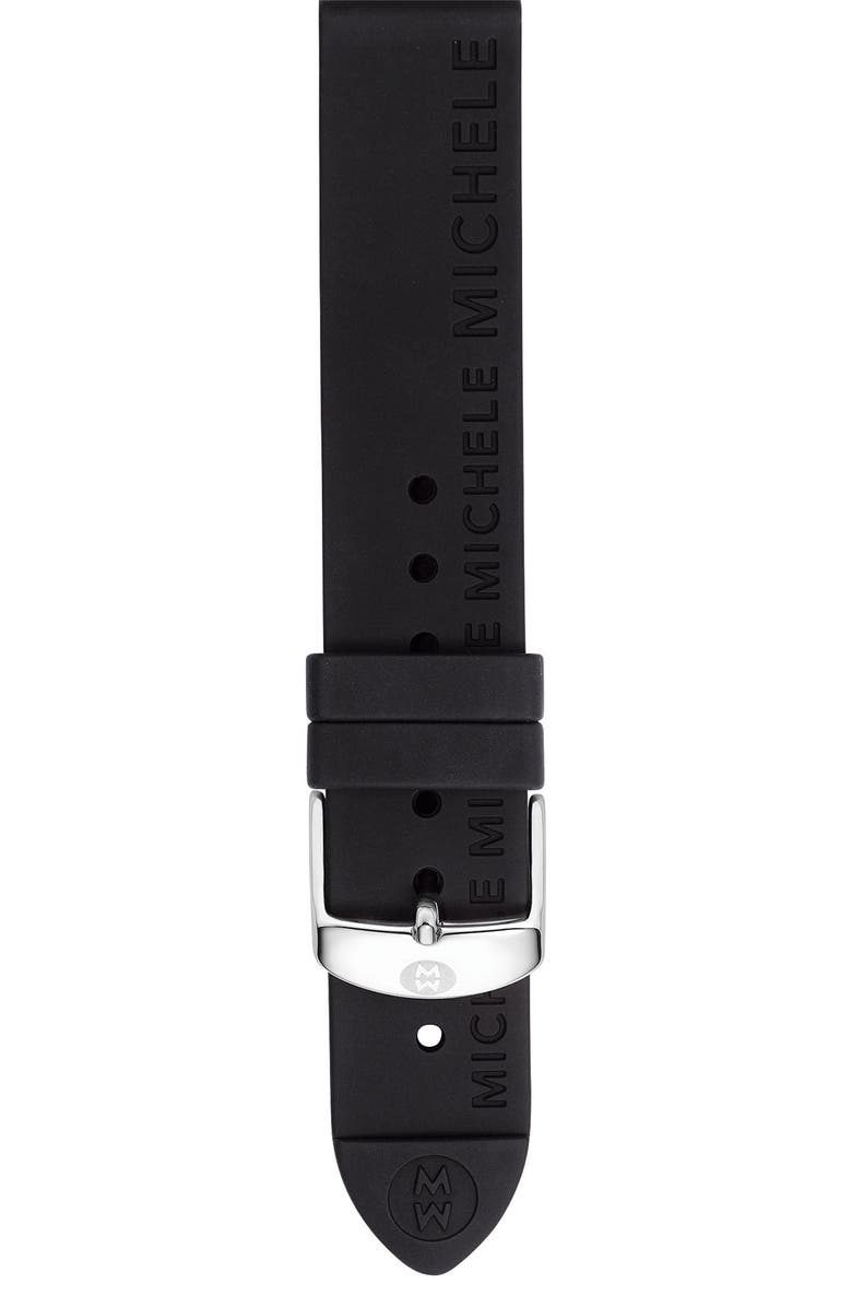 MICHELE 18mm Silicone Watch Strap, Main, color, 001