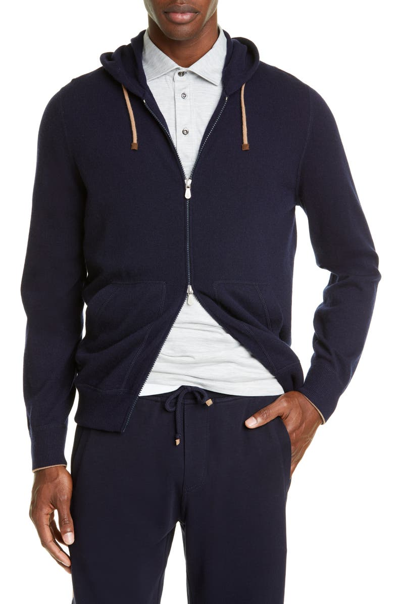 BRUNELLO CUCINELLI Cashmere Full Zip Hoodie, Main, color, NAVY