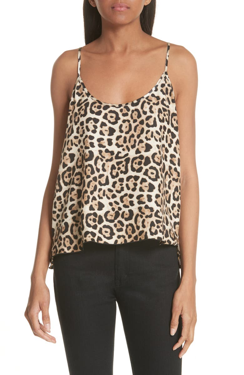 ATM ANTHONY THOMAS MELILLO Leopard Print Silk Camisole, Main, color, LEOPARD PRINT