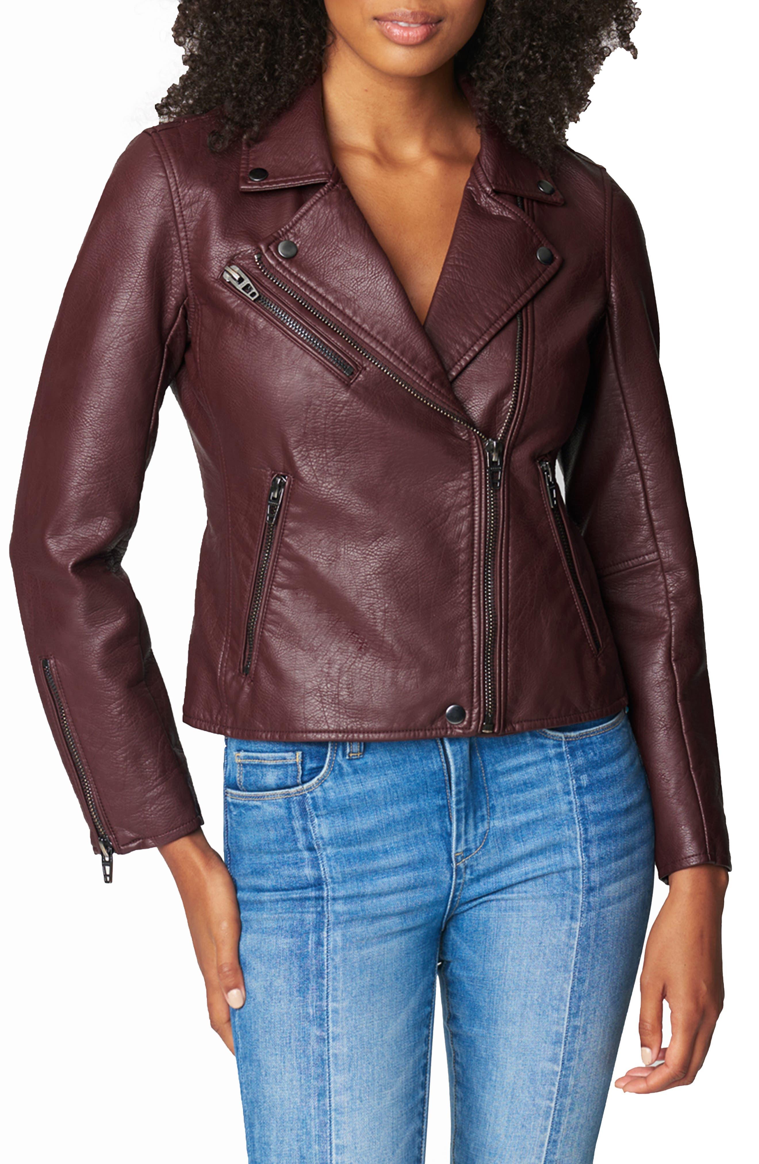 Women's Blanknyc Faux Leather Moto Jacket, Size Medium - Red