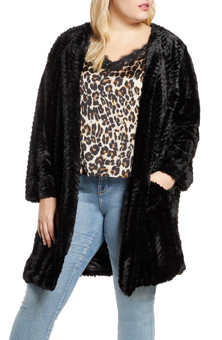 SINGLE THREAD Chevron Faux Fur Coat, Main, color, BLACK