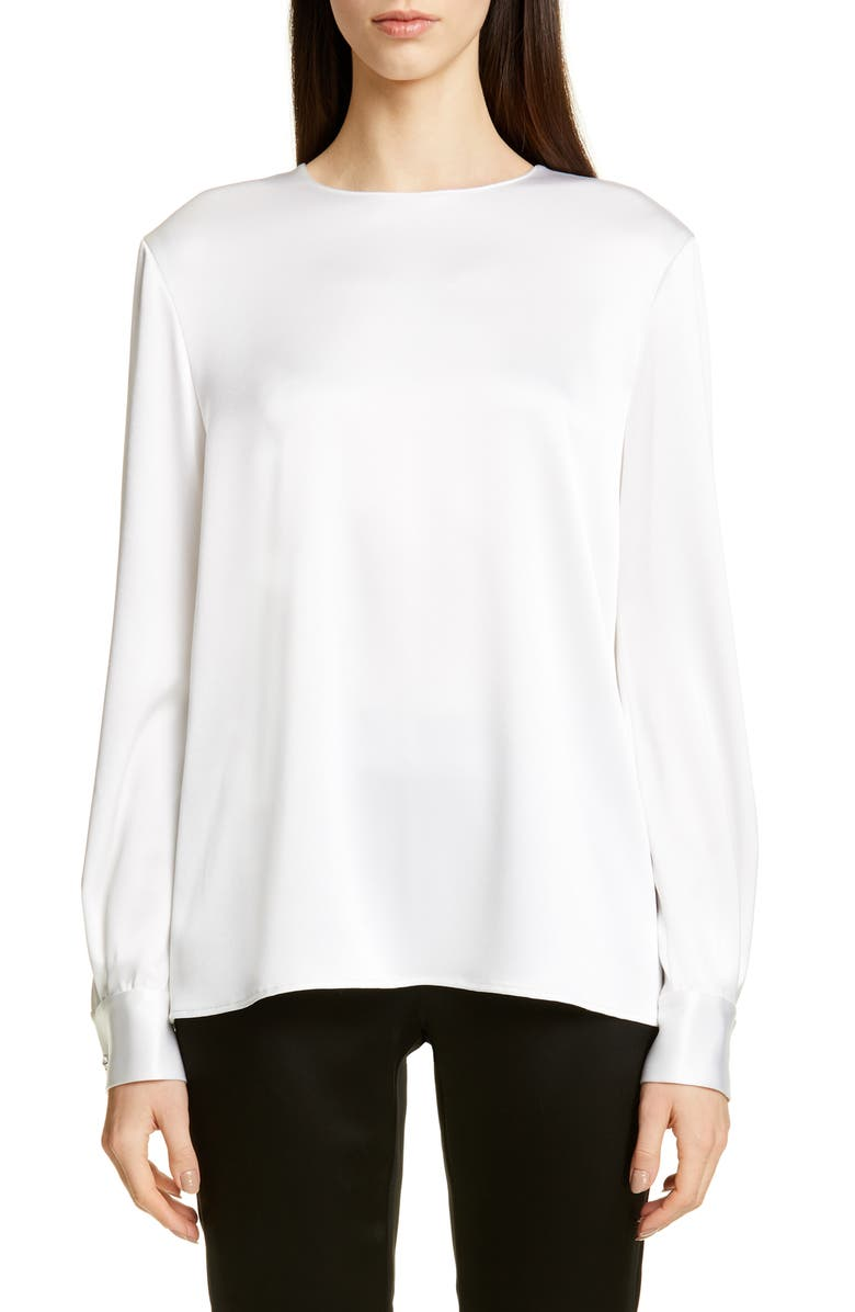 ST. JOHN COLLECTION Lightweight Liquid Satin Blouse, Main, color, WHITE