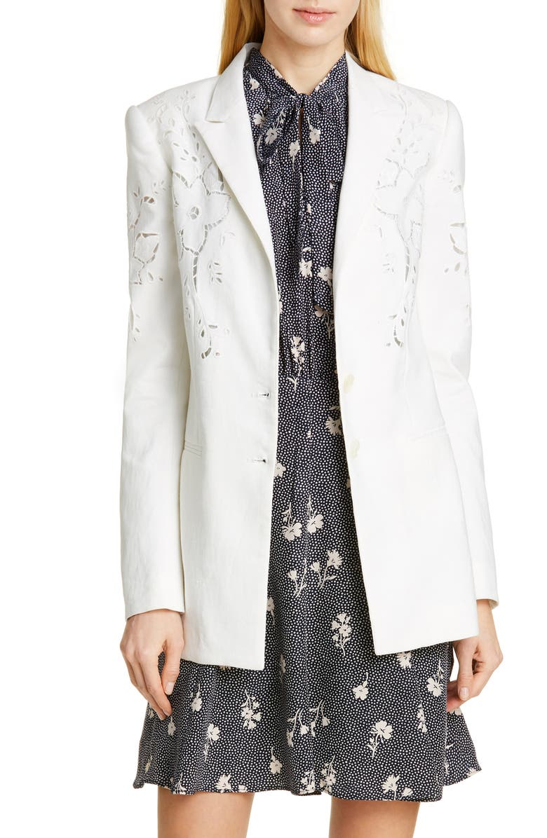 Tailored By Rebecca Taylor Eyelet Embroidery Linen Blend Blazer