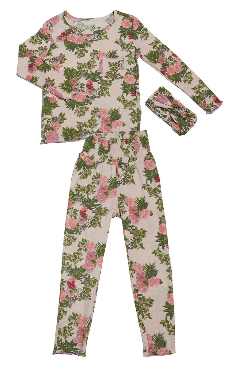 BABY GREY BY EVERLY GREY Charlie Fitted Two-Piece Pajamas & Head Wrap Set, Main, color, BEIGE FLORAL