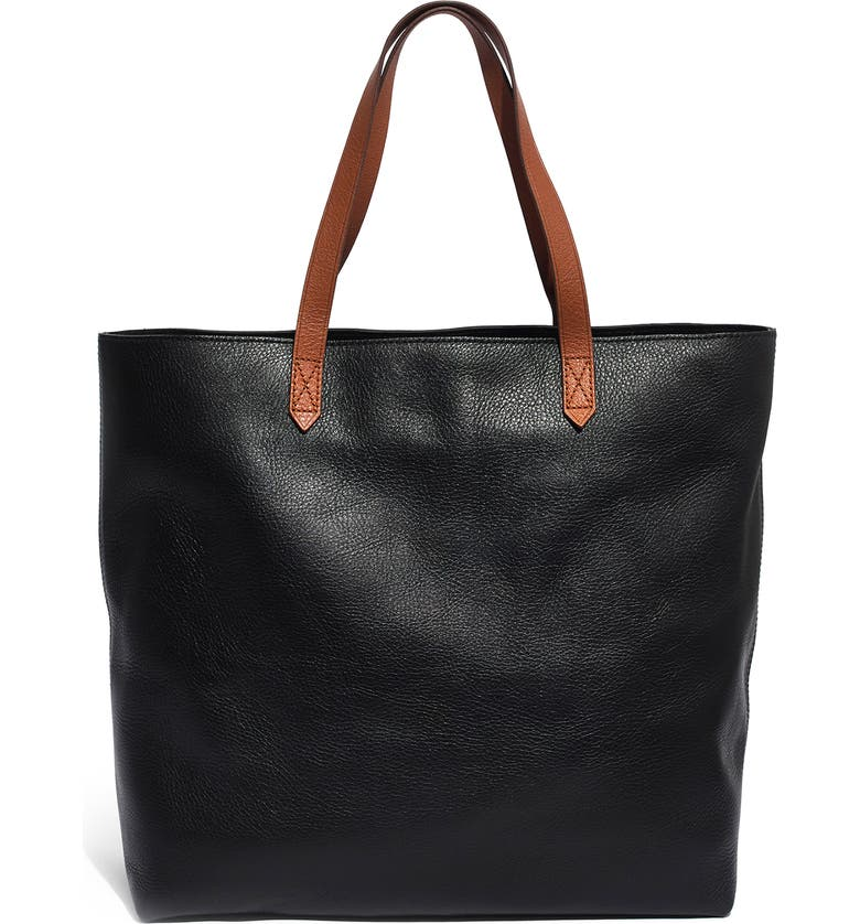 4b1ac2d7a Zip Top Transport Leather Tote, Main, color, TRUE BLACK W/ BROWN
