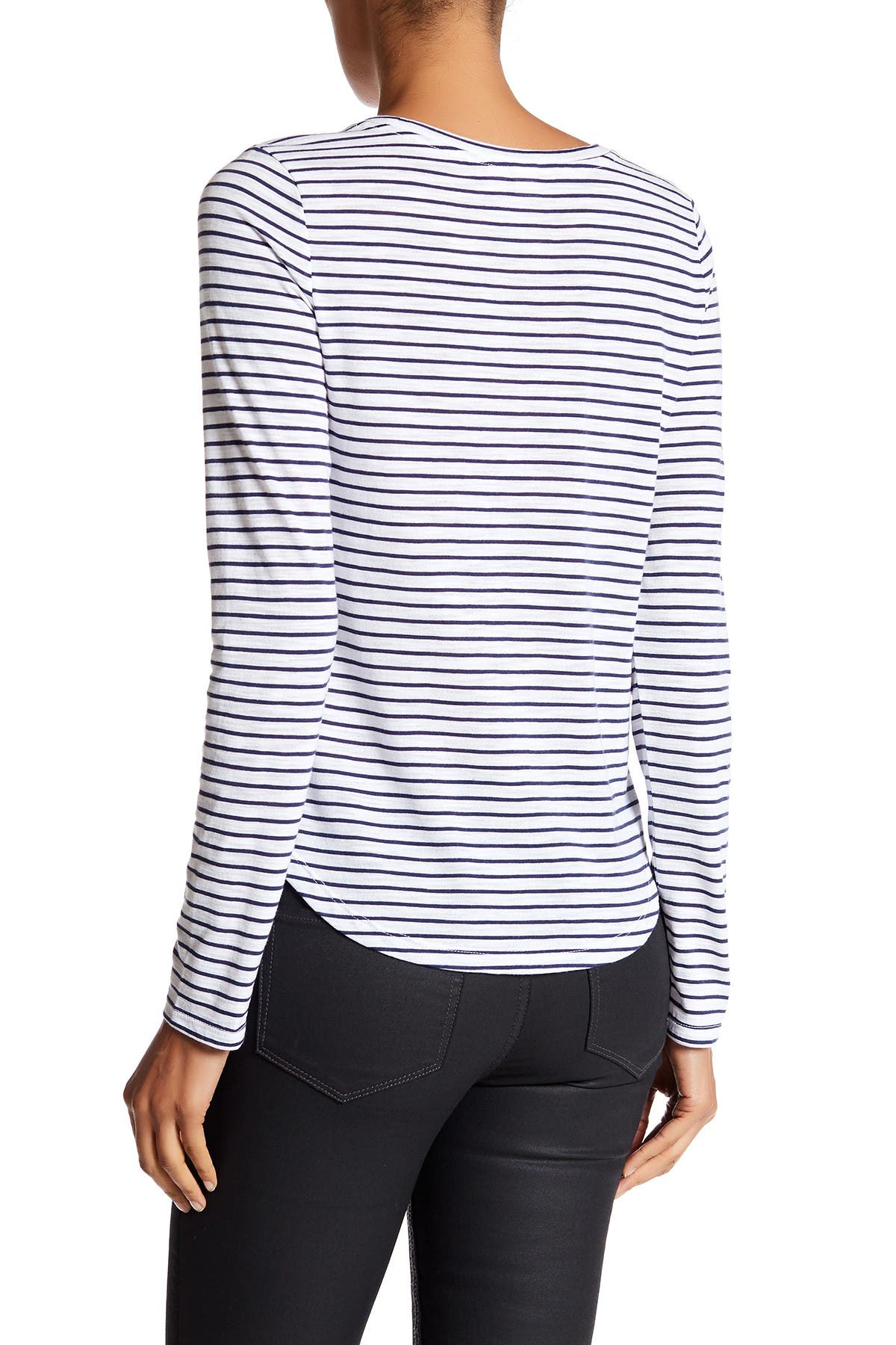Image of Melrose and Market Long Sleeve Striped Crew Neck Tee