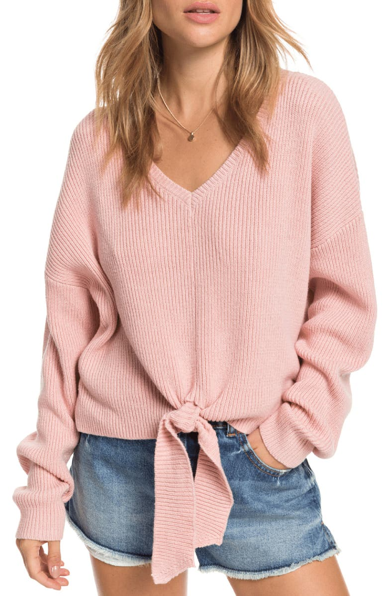 ROXY Summertime Blues V-Neck Sweater, Main, color, 667