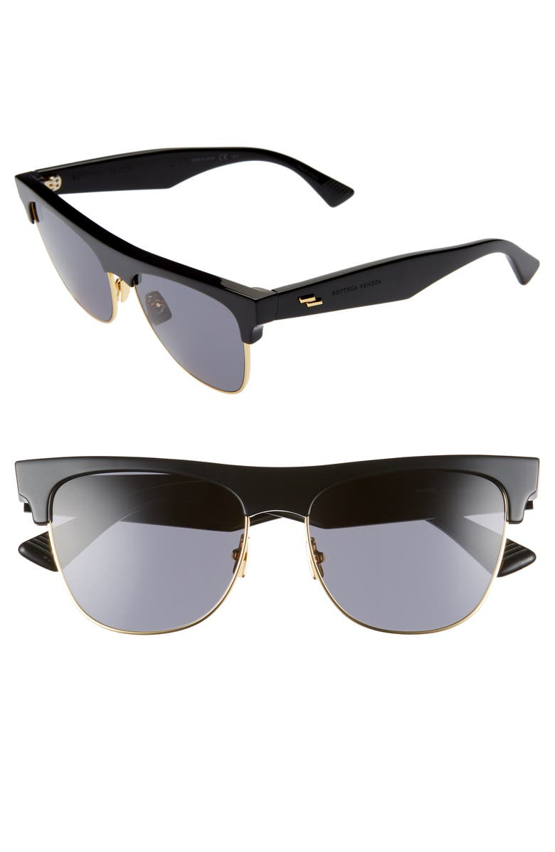 BOTTEGA VENETA 55mm Cat Eye Sunglasses, Main, color, BLACK/ GOLD/ GREY