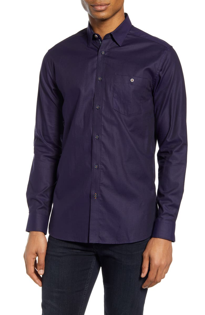 TED BAKER LONDON Yesway Slim Fit Solid Button-Up Shirt, Main, color, NAVY