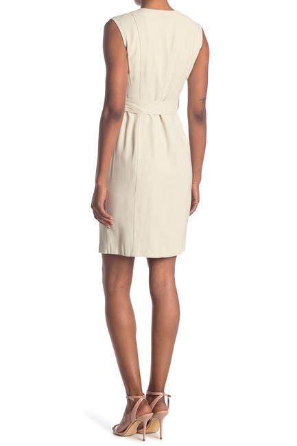 Image of Calvin Klein V-Neck Sleeveless Belted Shirt Dress