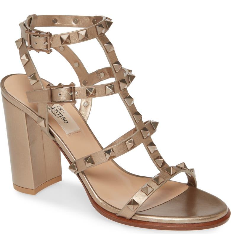 VALENTINO GARAVANI Rockstud Block Heel Sandal, Main, color, GOLD