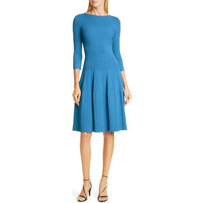 St. John Collection Engineered Rib Fit & Flare Sweater Dress, Blue