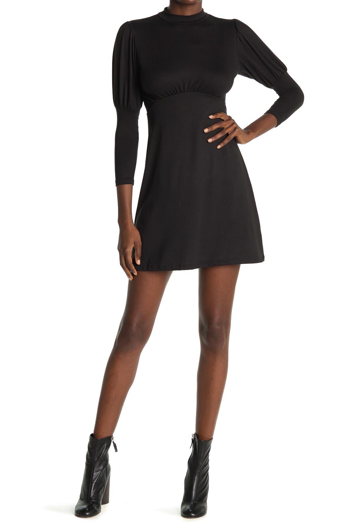 Image of Velvet Torch Puff Sleeve Skater Dress