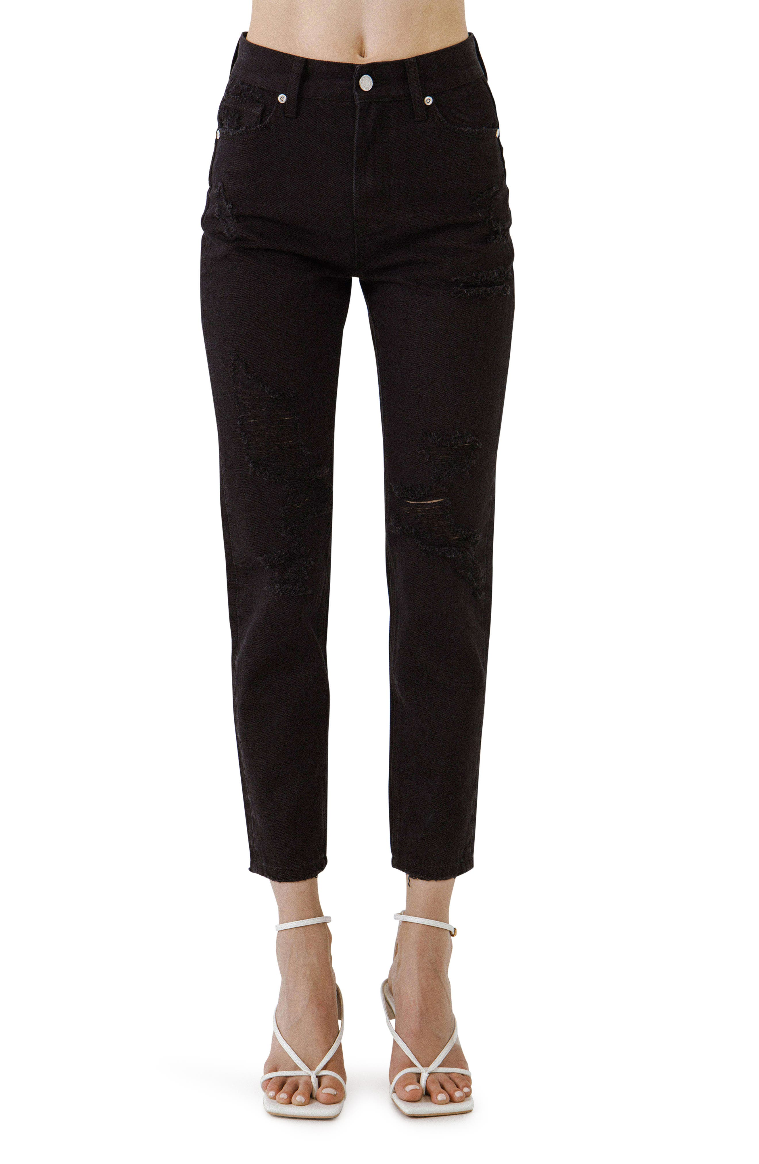 Ripped Raw Hem Crop Nonstretch Jeans