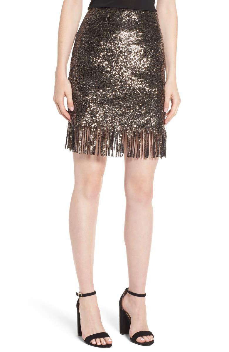 BARDOT Sequin Fringe Skirt, Main, color, 710
