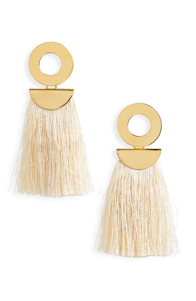 LIZZIE FORTUNATO Go-Go Crater Tassel Drop Earrings, Main, color, 100