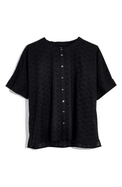 5acfa210 Madewell Eyelet Boxy Button-Down Shirt In True Black | ModeSens