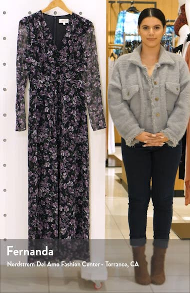 Celeste Floral Pleated Long Sleeve Gown, sales video thumbnail