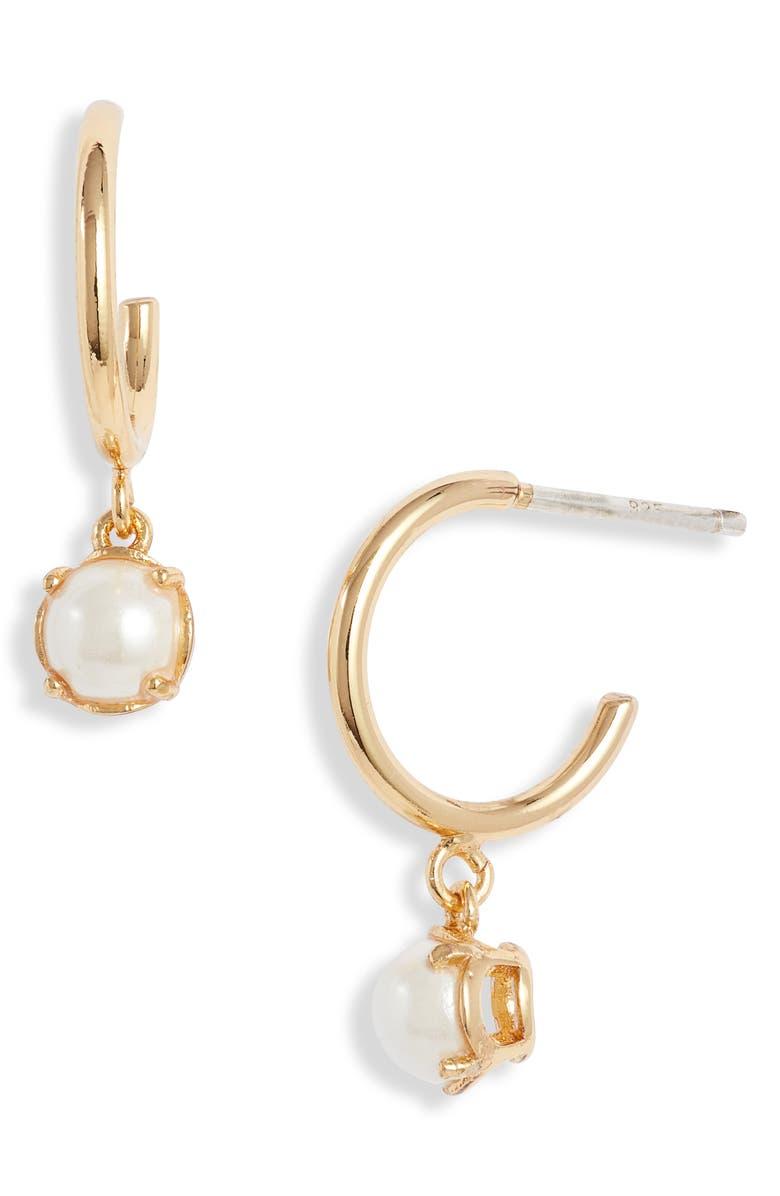 KATE SPADE NEW YORK imitation pearl huggie hoop earrings, Main, color, CREAM