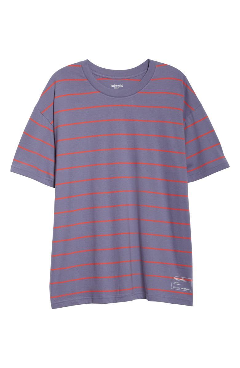 ENTIREWORLD Type B Version 6 Stripe Boxy Tee, Main, color, PURPLE RED