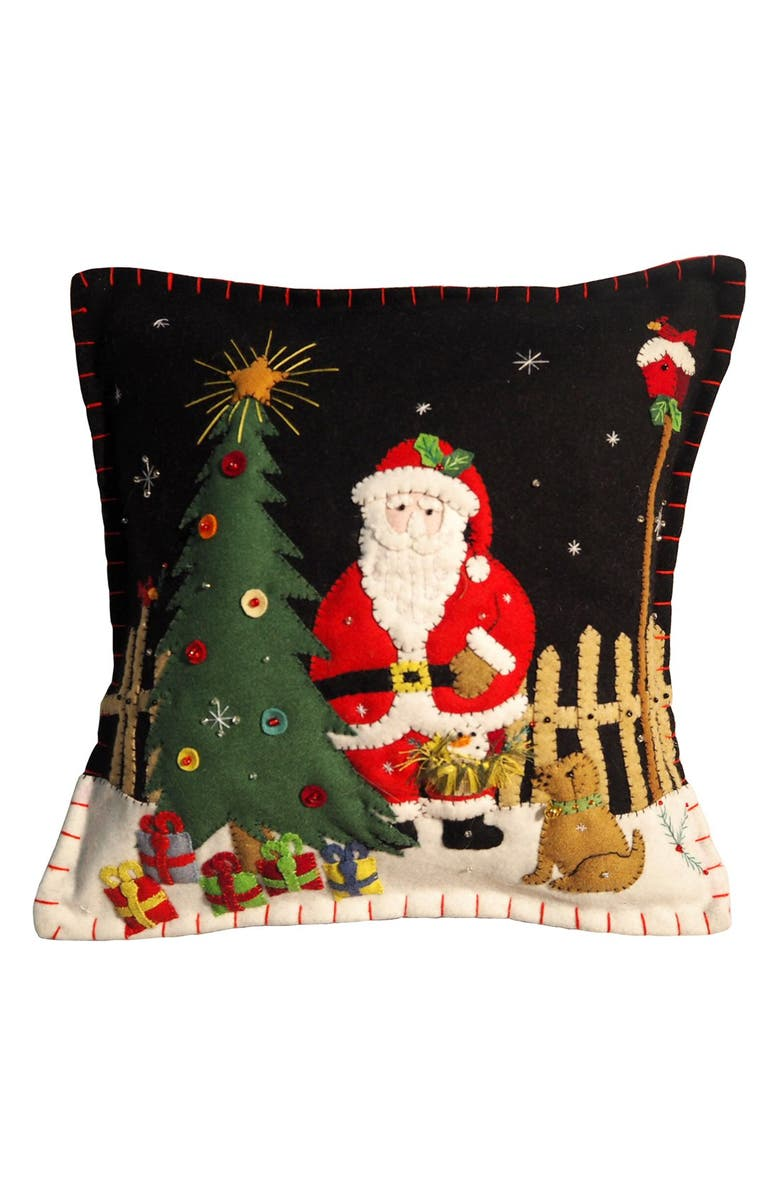 NEW WORLD ARTS Santa Accent Pillow, Main, color, BLACK