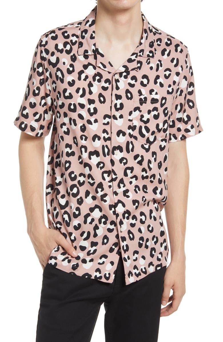 TOPMAN Leopard Print Short Sleeve Button-Up Camp Shirt, Main, color, PINK