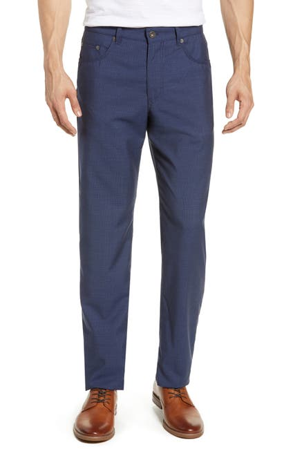Image of Brax Cooper Five Pocket Straight Leg Check Wool Trousers