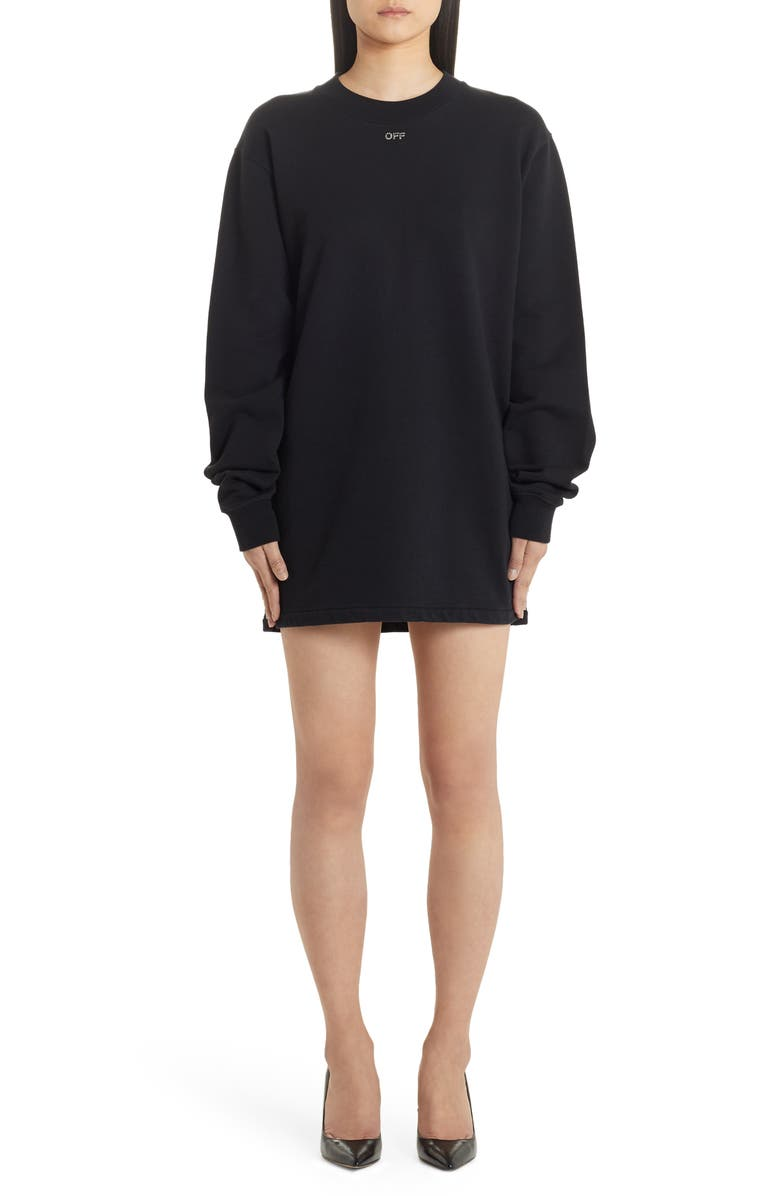 OFF-WHITE Shifted Carryover Long Sleeve Sweatshirt Dress, Main, color, BLACK