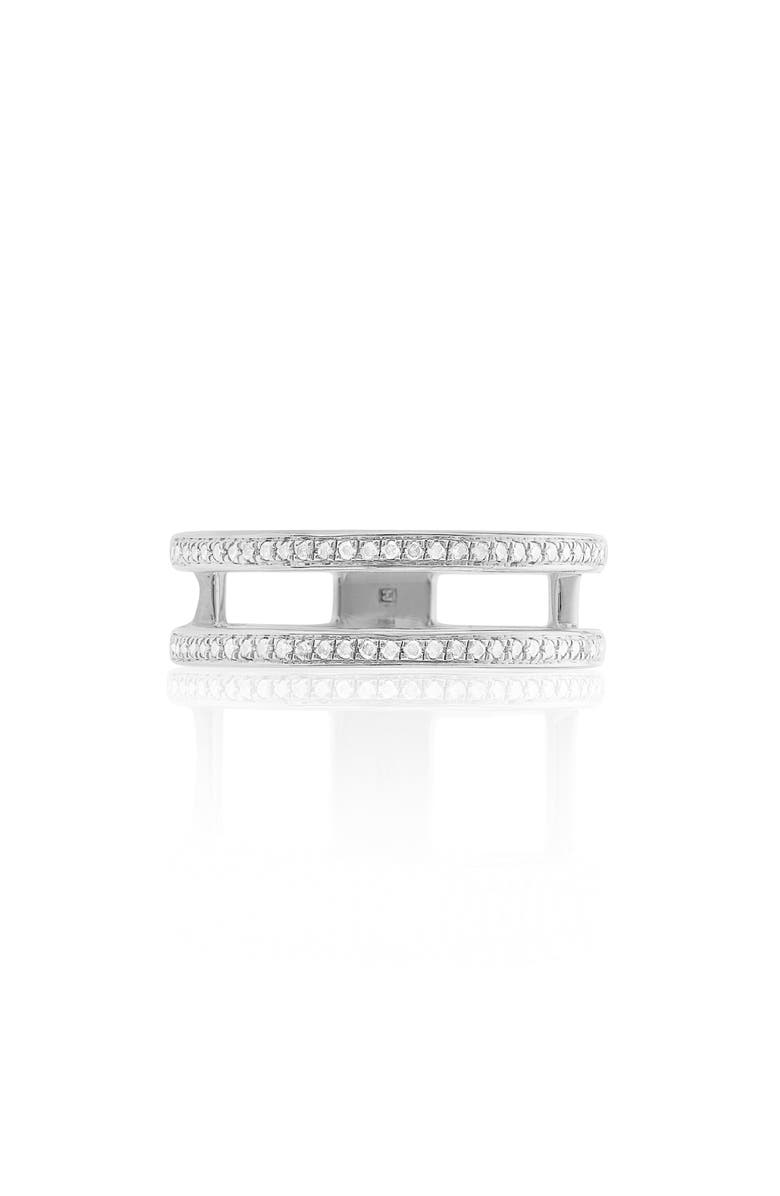 MONICA VINADER Skinny Double Band Diamond Ring, Main, color, SILVER