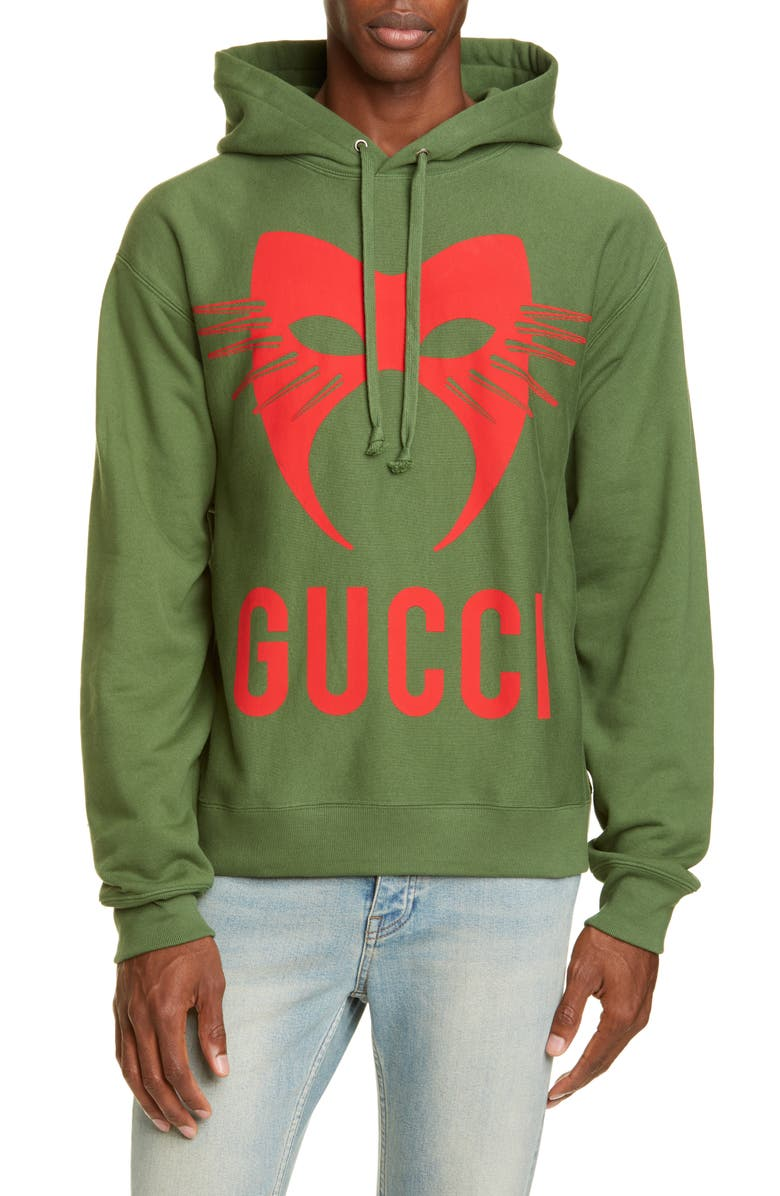 GUCCI Manifesto Mask Graphic Pullover Hoodie, Main, color, ASPARAGIS GREEN/MIX