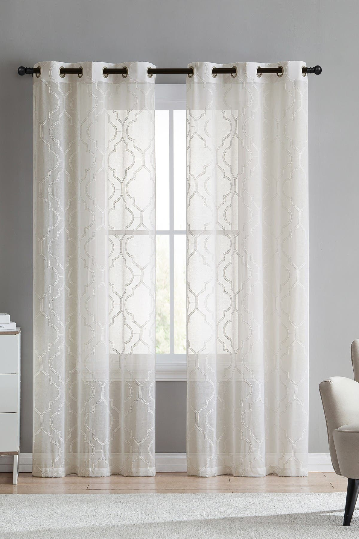 Image of VCNY HOME Charlotte Embroidered Sheer Panel Pair - Ivory