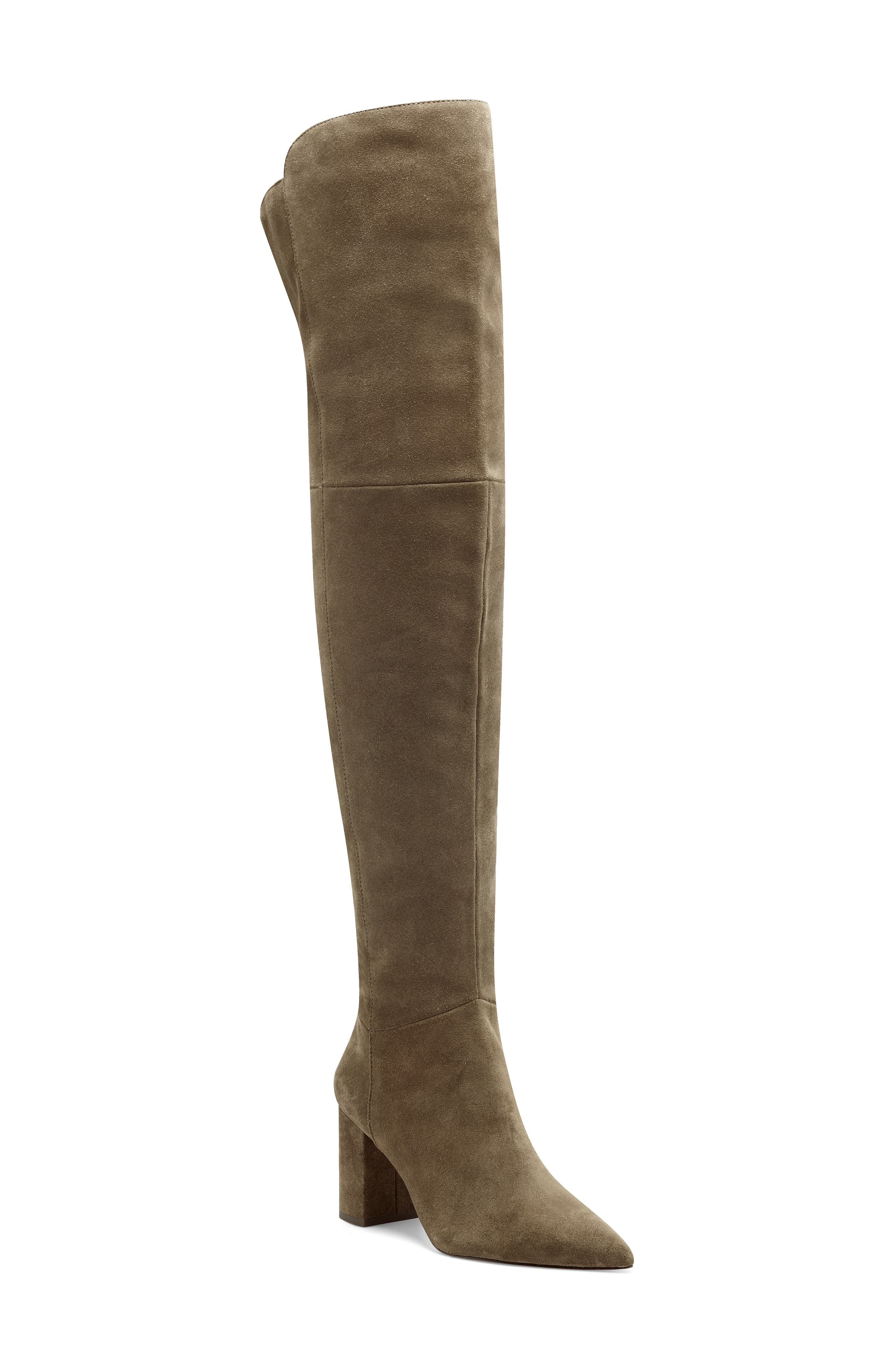 Clean seams and a back notch detail the sky-high shaft of this leg-lengthening boot styled with a pointy toe and covered block heel. Style Name: Louise Et Cie Wasi Over The Knee Boot (Women). Style Number: 6107706. Available in stores.