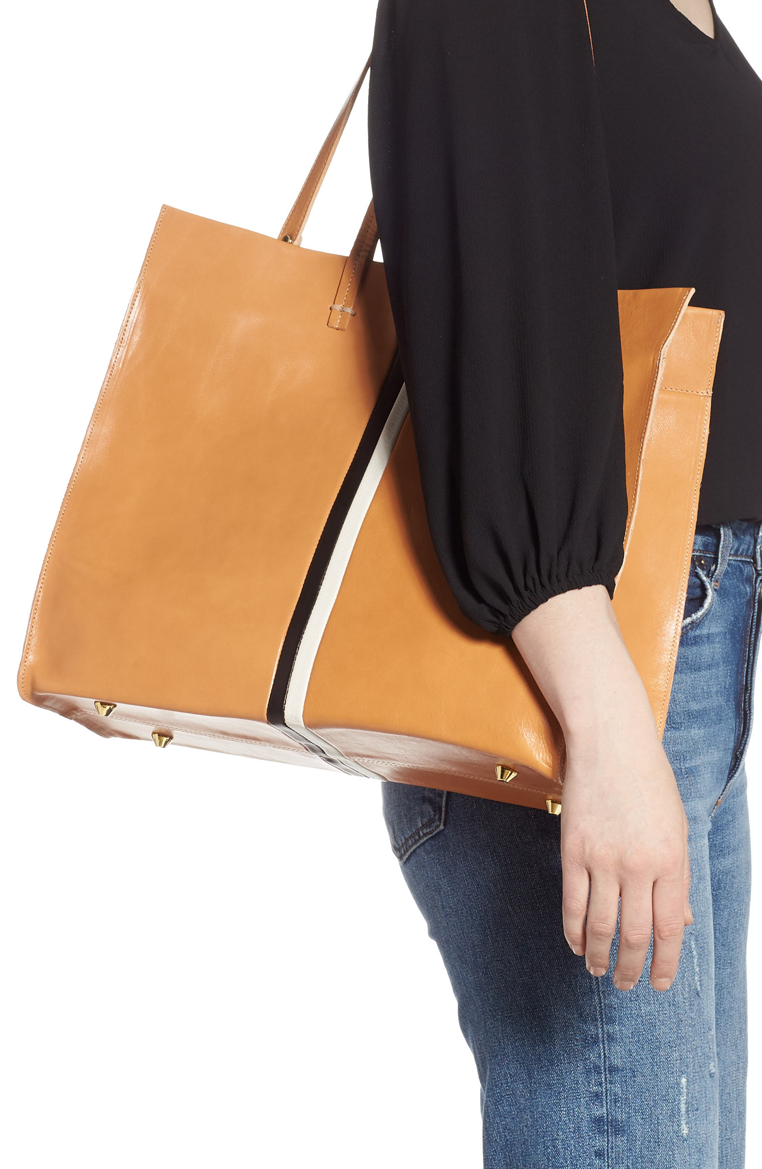 ,                             Simple Stripe Leather Tote,                             Alternate thumbnail 2, color,                             200