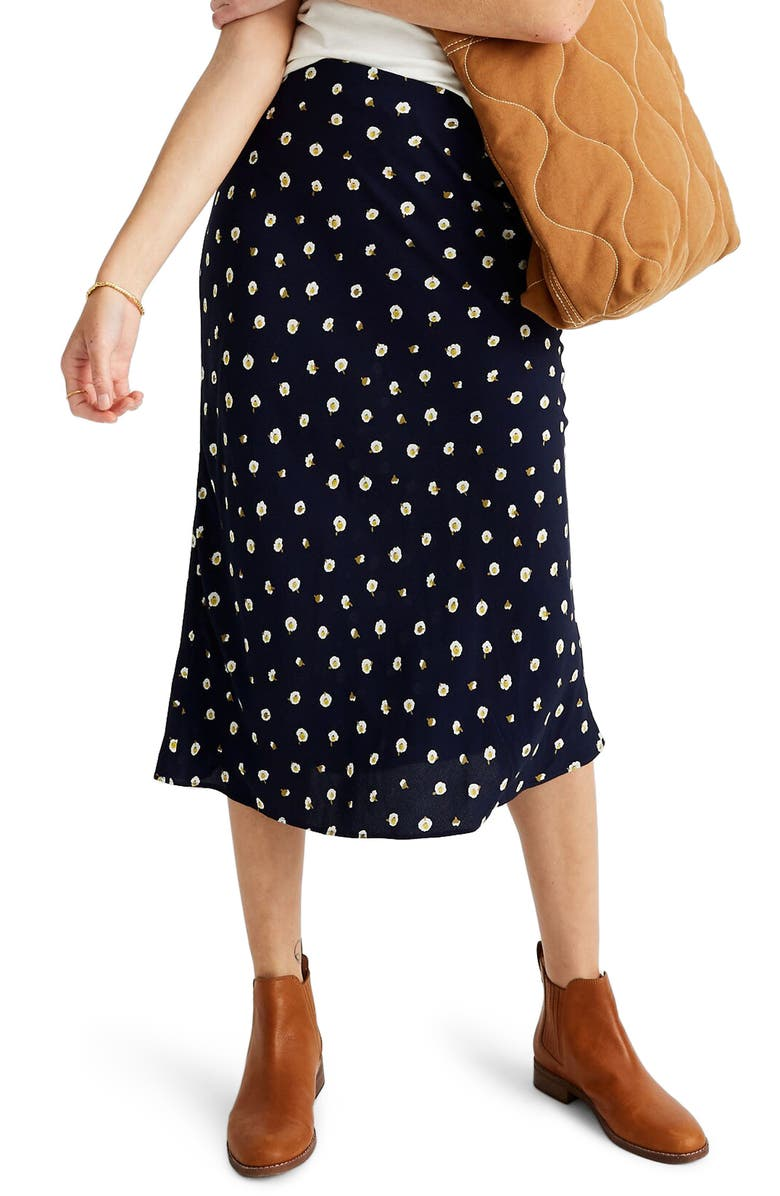 MADEWELL Midi Slip Skirt in Daisy Dots, Main, color, DOT DAISY DARK NIGHTFALL