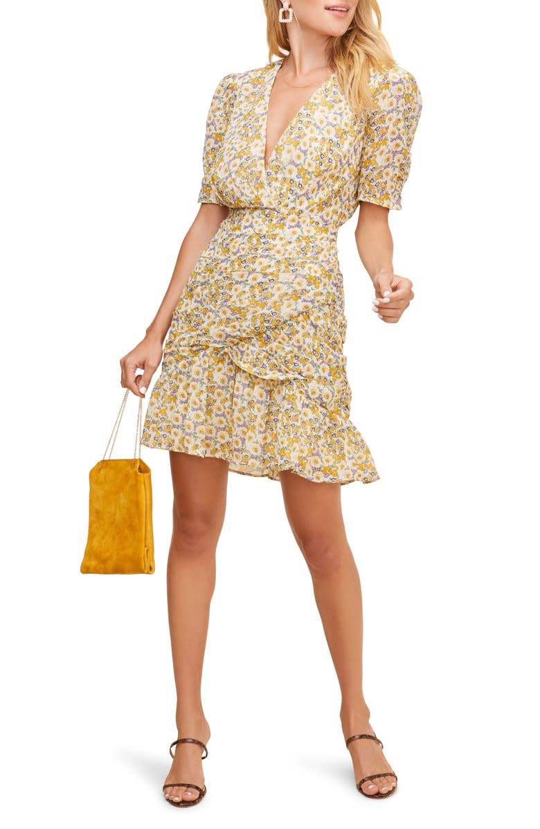 ASTR THE LABEL Lucky Me Minidress, Main, color, MUSTARD BLUE DAISY FLORAL