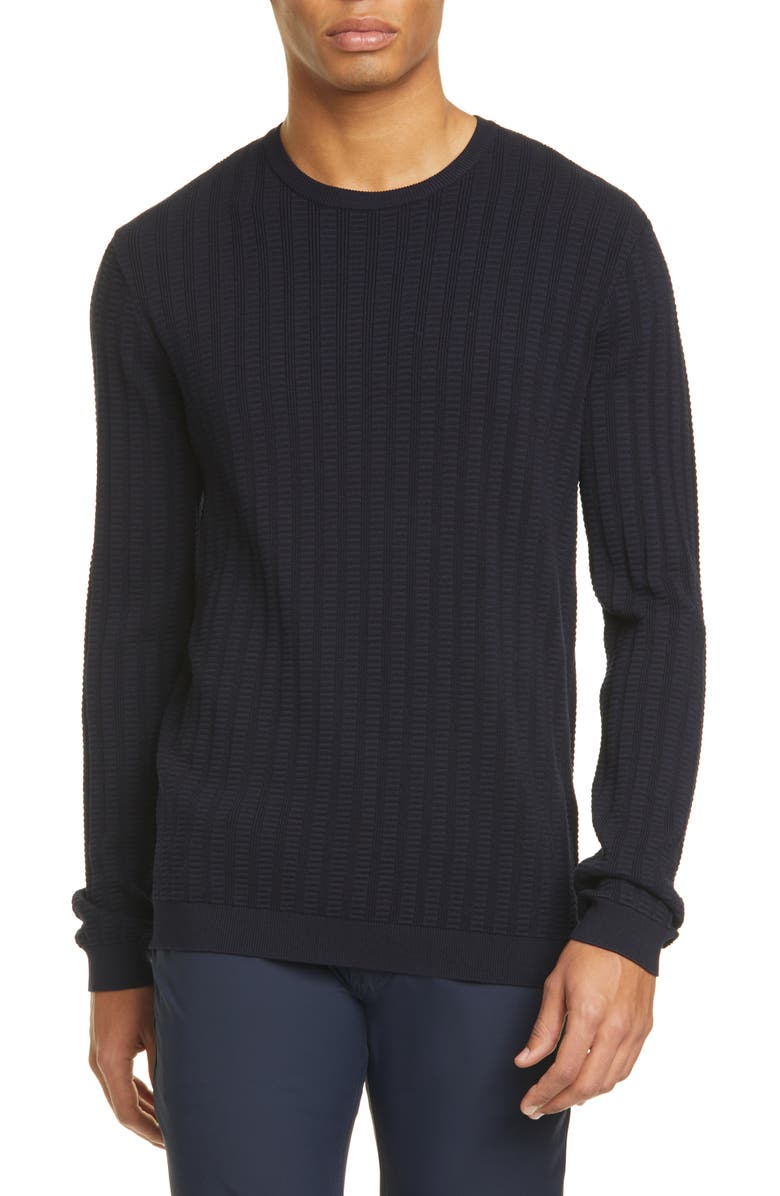 EMPORIO ARMANI Slim Fit Crewneck Sweater, Main, color, NAVY