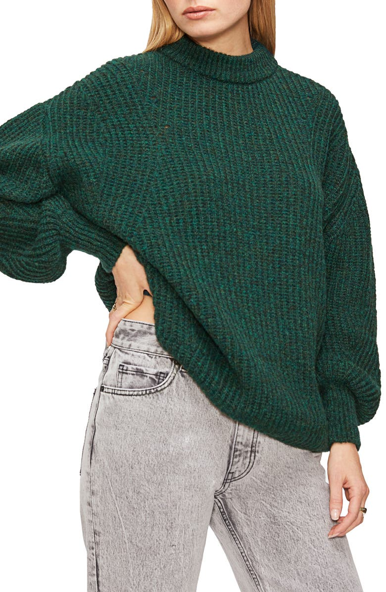 ANINE BING Jolie Pointelle Alpaca & Wool Blend Sweater, Main, color, FOREST GREEN