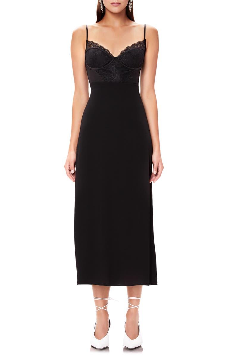 AFRM Bruna Lace Detail Midi Dress, Main, color, NOIR 001