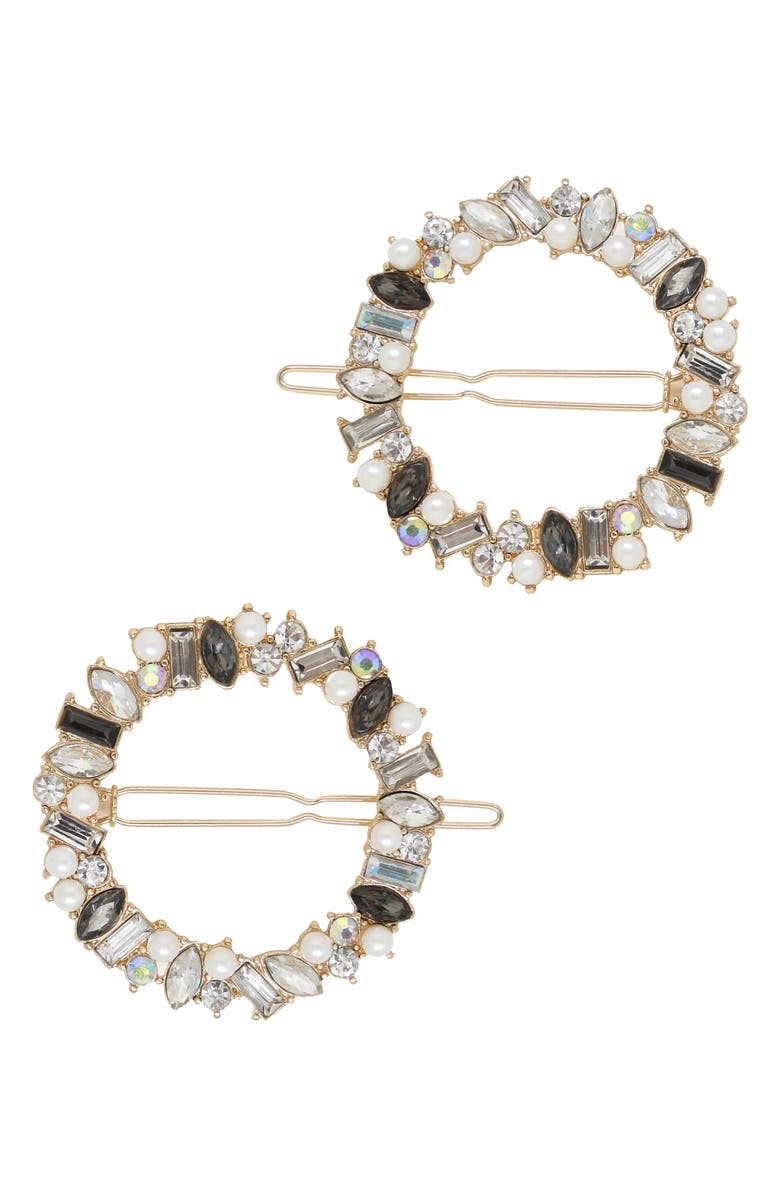 ETTIKA Set of 2 Crystal Ring Barrettes, Main, color, Gold