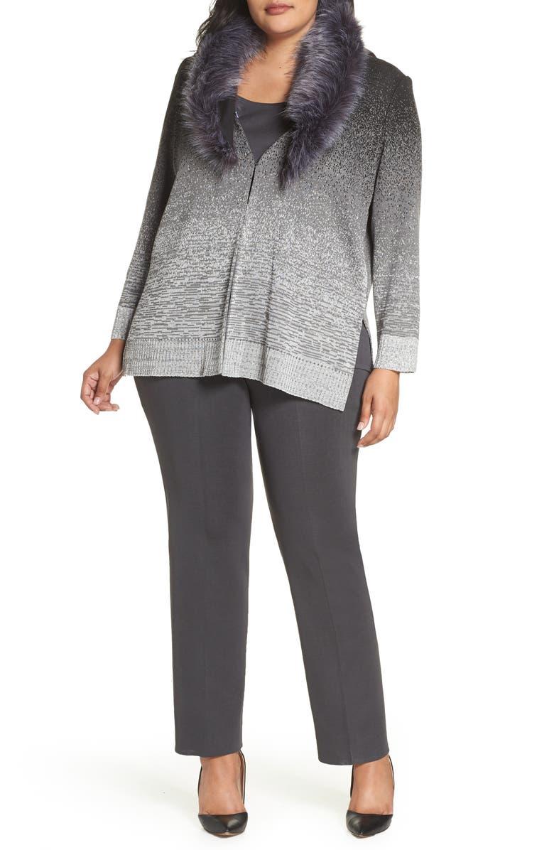 MING WANG Faux Fur Collar Jacket, Main, color, 020