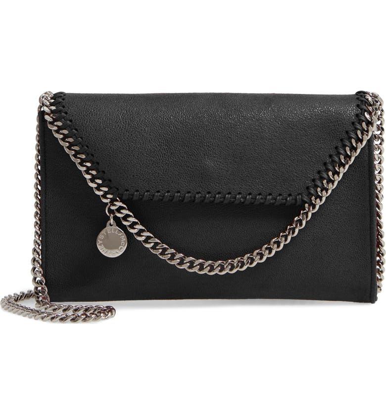 STELLA MCCARTNEY Mini Falabella Shaggy Dear Faux Leather Crossbody Bag, Main, color, BLACK