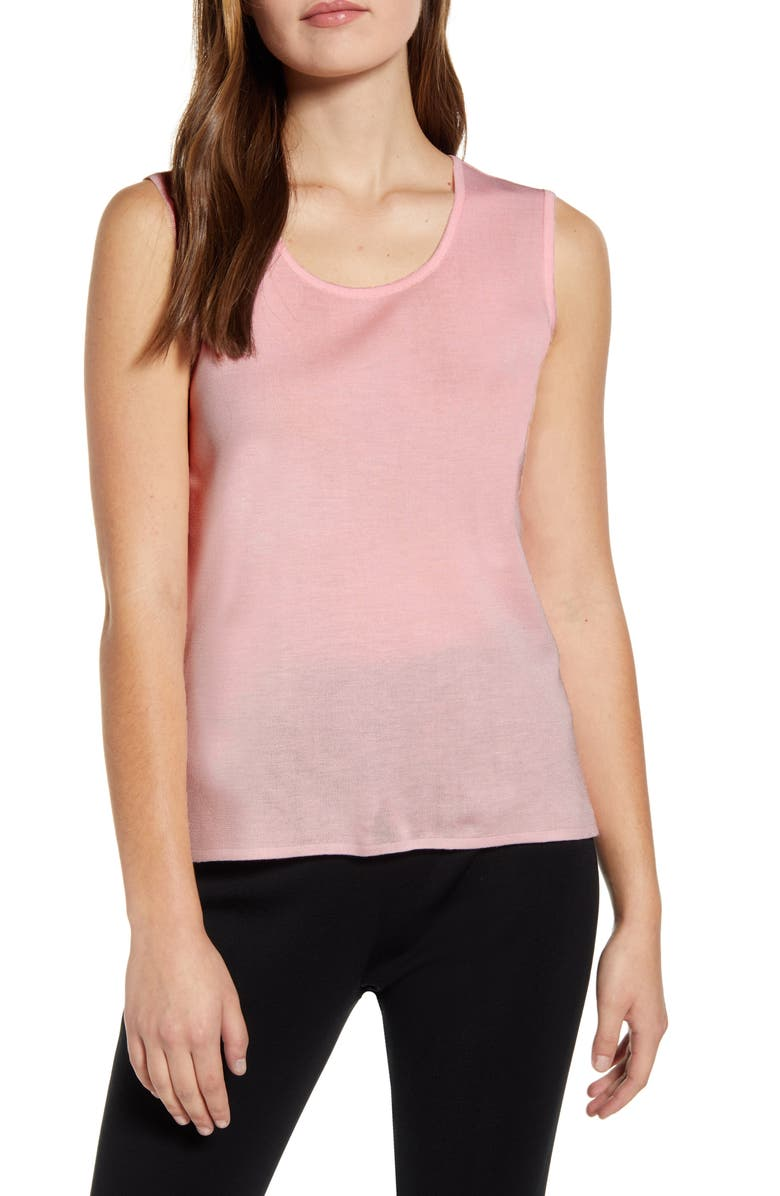 MING WANG Scoop Neck Knit Tank, Main, color, SUGAR