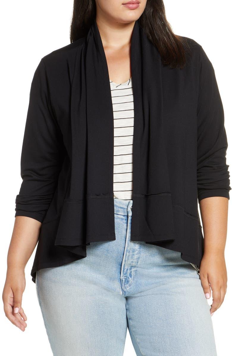 CASLON<SUP>®</SUP> Open Front Knit Jacket, Main, color, BLACK