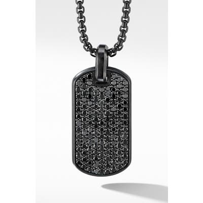 David Yurman Streamline Black Titanium Tag With Black Diamonds