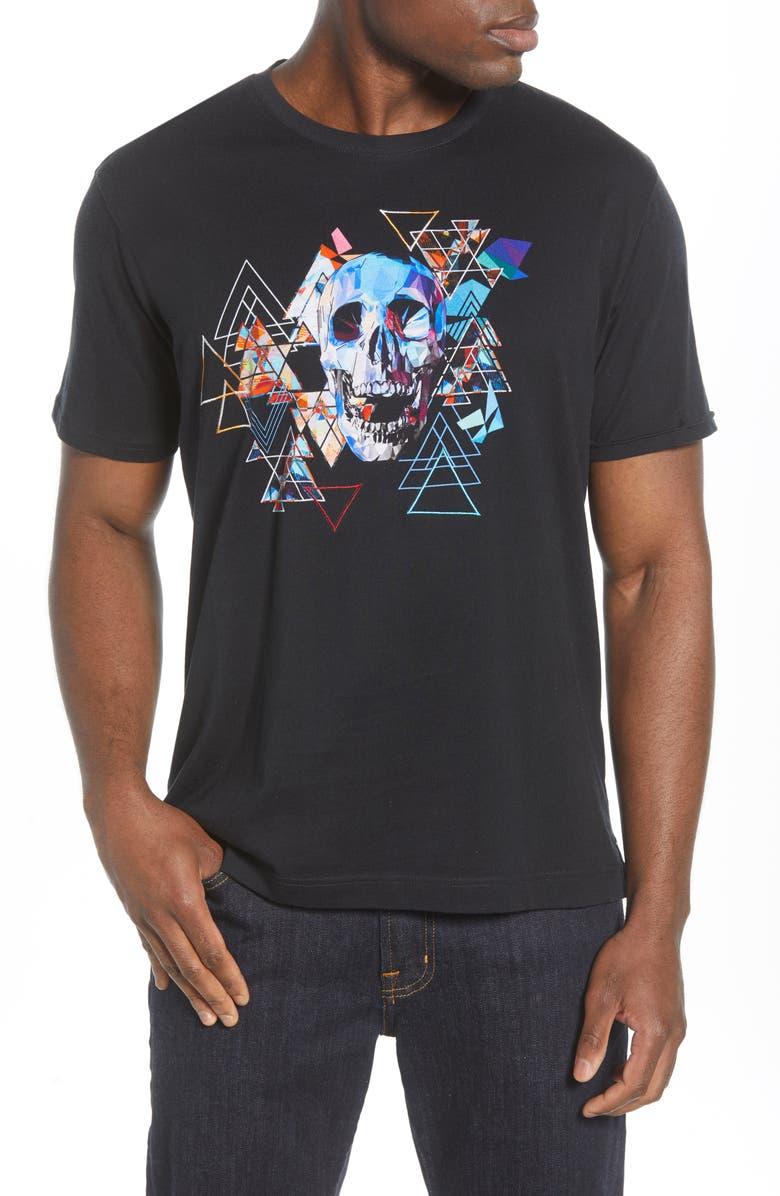 ROBERT GRAHAM Geo Skull Embroidered T-Shirt, Main, color, BLACK