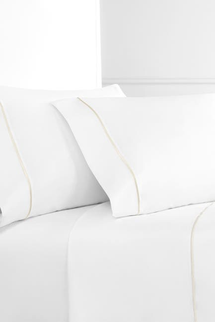 Image of Melange Home Single Marrow Stripe Ivory-White Embroidery Queen Sheet Set